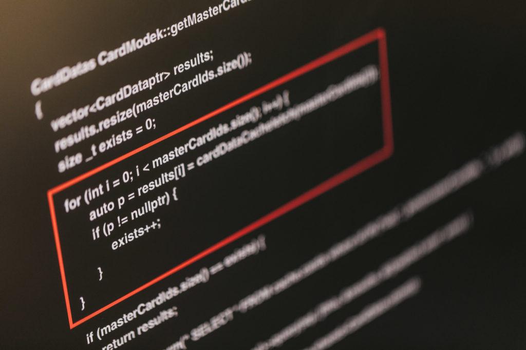 プログラミング言語が表示された画面