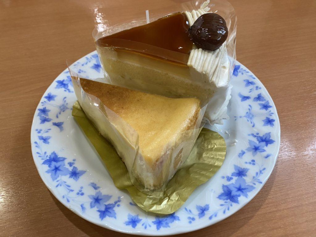 不二家のベイクドチーズケーキとプリンショートケーキ