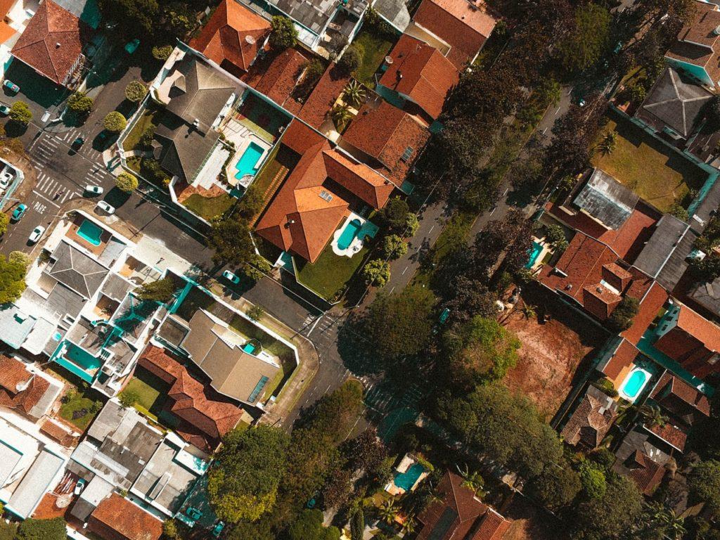 空から撮った住宅地