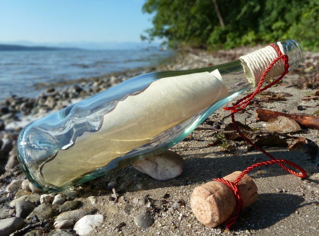 海岸に落ちていた瓶に入っていたメッセージ