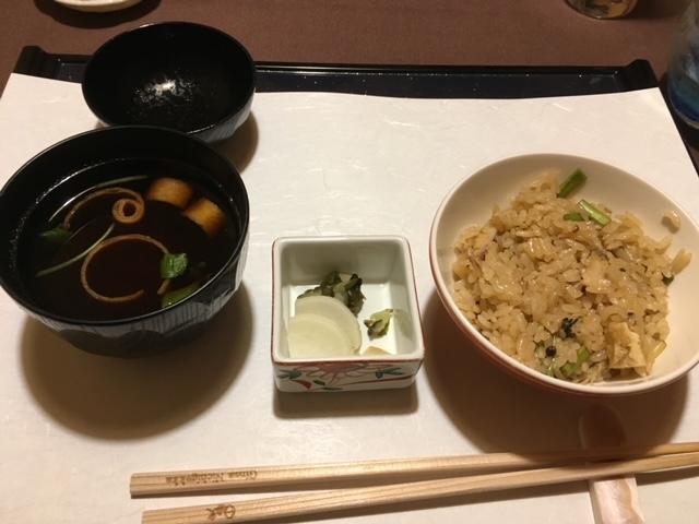 北寄貝と芹の土鍋御飯